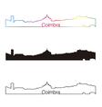 Coimbra skyline linear style with rainbow vector image vector image