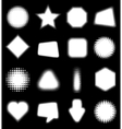Set of white 16 Abstract Halftone Design Elements vector image