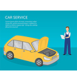 car service banner serviceman and car vector image