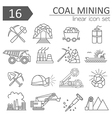 Coal mining icon set Thin line icon design vector image
