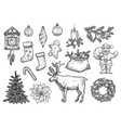Christmas New Year ornaments sketch vector image