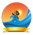 surf paddling vector image vector image