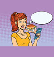 girl teenager online ordering the burger fast food vector image