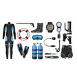 equipment for diving scuba gear and accessories vector image