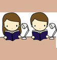 Reading Boy and Girl vector image
