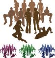 friends silhouette vector image