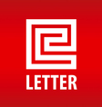 logo letter E in the form of a labyrinth vector image vector image