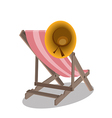 Beach chairs and hat vector image