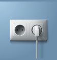 Electric white plug and socket on blue wall vector image