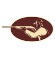 Hunter shooting aiming shotgun vector image