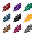 oak leaf icon in black style isolated on white vector image