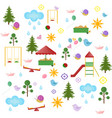 playground kindergarten pattern set flat vector image