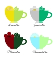 Set tea cups isolated on white vector image