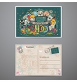 Two-sided card on a school theme with doodles vector image