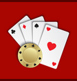set of simple playing cards with casino chips vector image