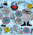 Blue seamless pattern with owl in eyeglasses vector image