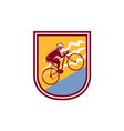Cyclist Riding Mountain Bike Uphill Retro vector image vector image