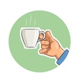 Cup of coffee in hand vector image