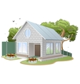 White brick house Country cottage tree flower vector image