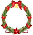 Christmas fir wreath with red ribbon and bell vector image vector image
