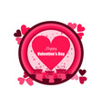 happy valentines day holiday card with hearts vector image