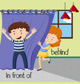 opposite words for behind and in front of vector image
