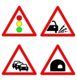 Set of traffic signs Traffic lights gravel road vector image