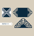 Template greeting card with openwork pattern vector image