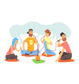 Young cool people smoking hookah sitting on the vector image