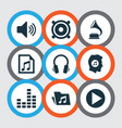 music icons set collection of equalizer meloman vector image