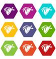 cowboy neckerchief icon set color hexahedron vector image vector image