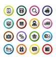 Shopping flat color icons set 04 vector image