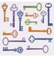 Retro keys stylish background vector image