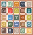 Hotel line flat icons on orange background vector image