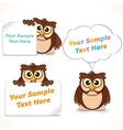 Cartoon Character Owl Showing Blank Banners vector image vector image