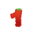 number 1 strawberry font red berry lettering one vector image