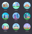 pack of world cities 8 vector image