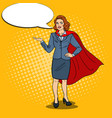 pop art happy super business woman in red cape vector image