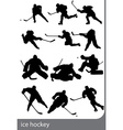 ice hockey silhouettes vector image