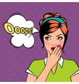 Oops comic pop art woman with bubble vector image