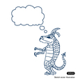 Little dragon with speech bubble vector image vector image