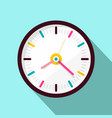 Clock icon flat design on blue background vector image