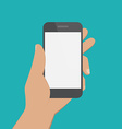 Hand holding black smartphone Flat design concept vector image