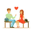 loving couple sitting on a park bench colorful vector image