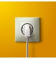 Realistic electric white socket and plug on yellow vector image