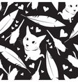 Seamless pattern with cats flowers and hearts vector image