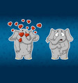stickers elephants very in love he is surprised vector image