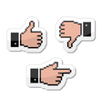 Pixel cursor icons - thumb up like it pointing vector image vector image