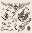 keys and locks heart shaped padlock vector image