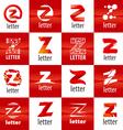 large set of logo letter Z vector image